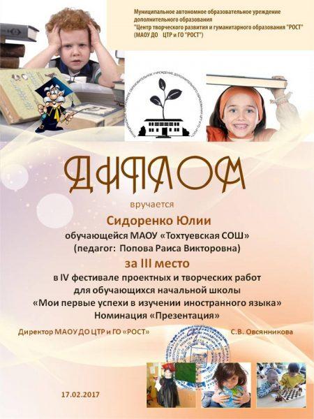 Сидоренко Юлия